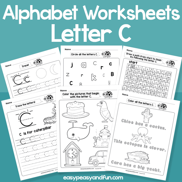 Letter C Alphabet Worksheets for Kindergarten