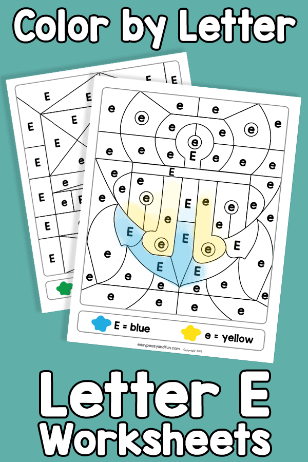 Letter E Color by Letter Worksheets