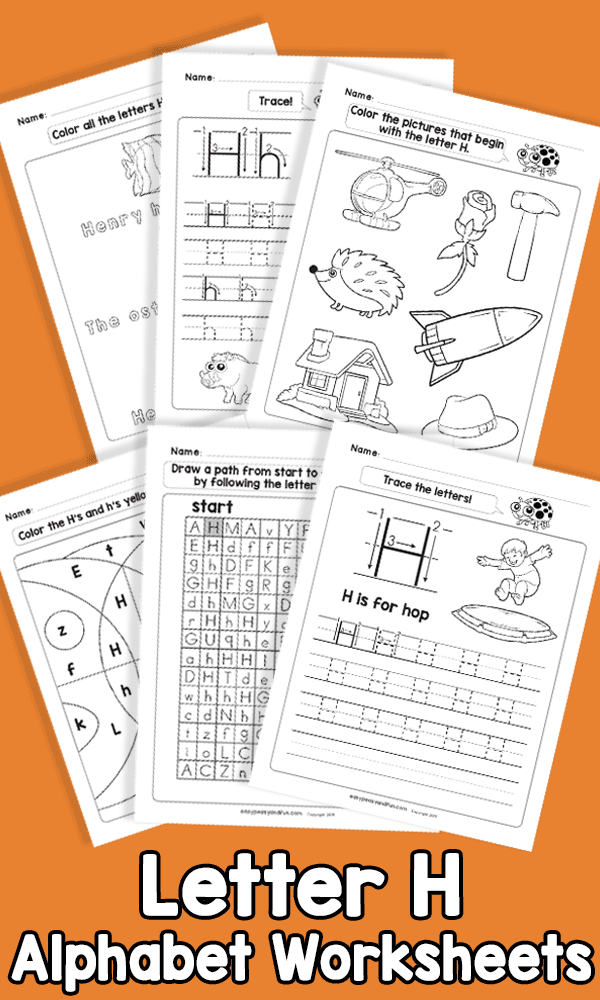 Letter H Alphabet Worksheets