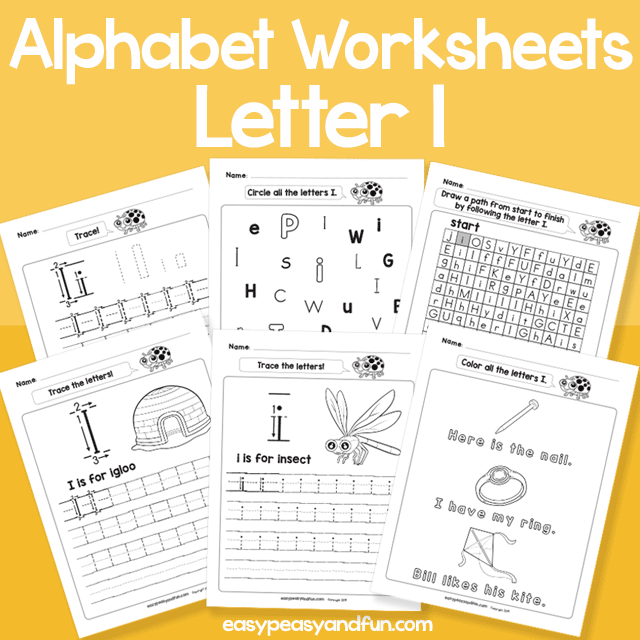 Letter I Alphabet Worksheets for Kindergarten