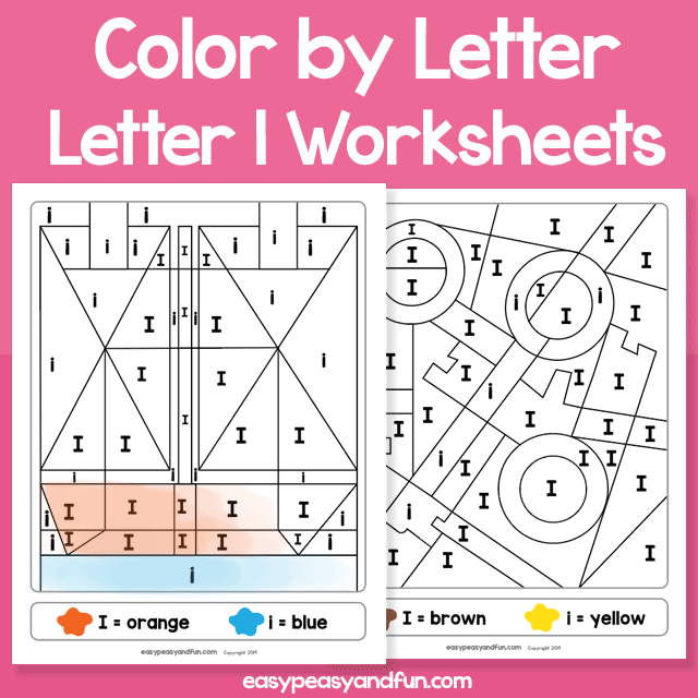Letter I Color by Letter Worksheets for Kindergarten