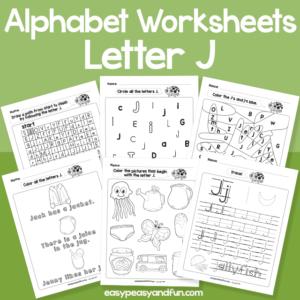 Letter J Alphabet Worksheets for Kindergarten