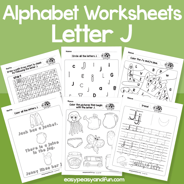 Letter J Alphabet Worksheets for Kindergarten