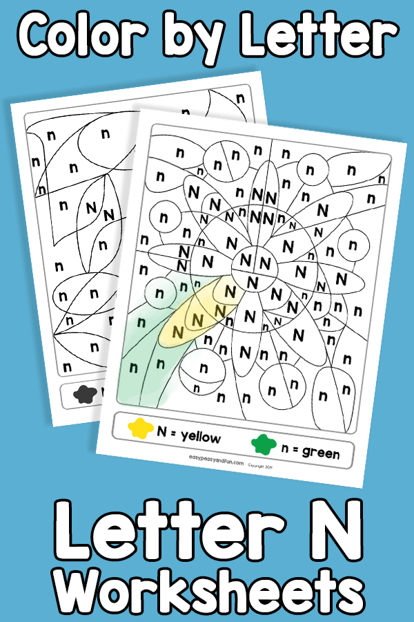 Letter N Color by Letter Worksheets