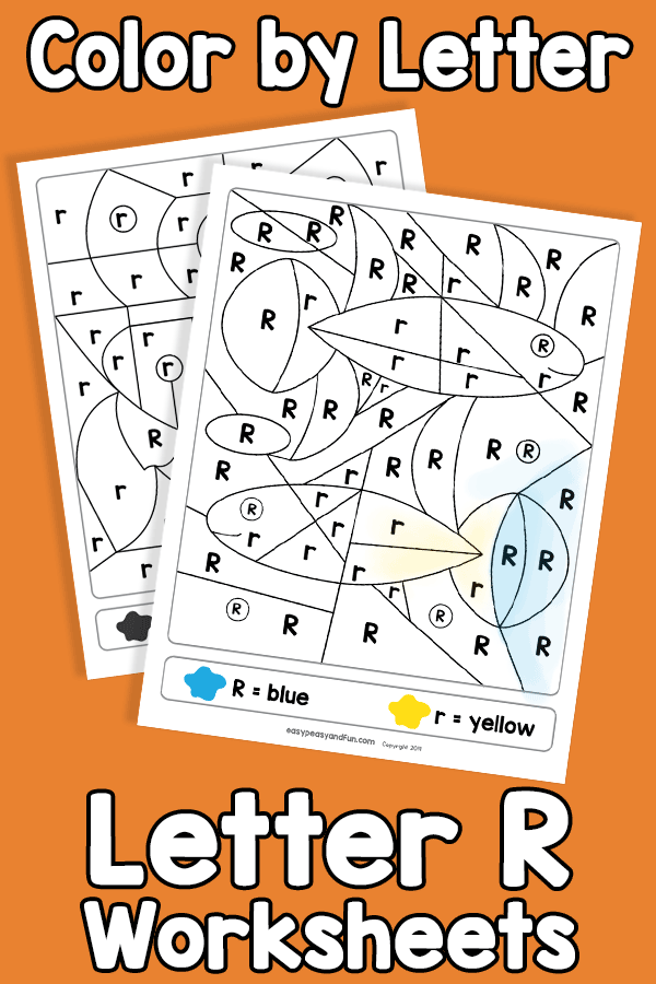 Letter R Color by Letter Worksheets
