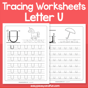 Letter U Tracing Worksheets for Kindergarten