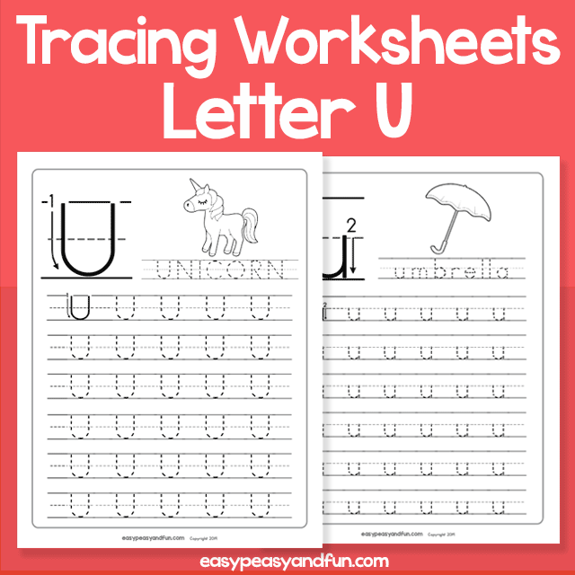 Letter U Tracing Worksheets for Kindergarten