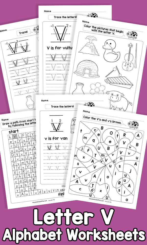 Letter V Alphabet Worksheets