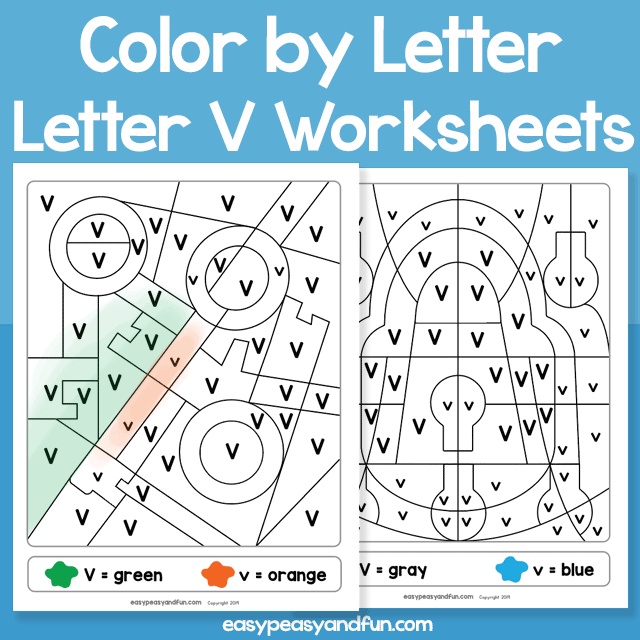 Letter V Color by Letter Worksheets for Kindergarten