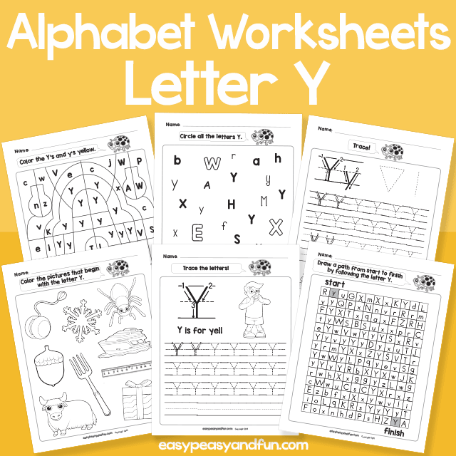Letter Y Alphabet Worksheets for Kindergarten
