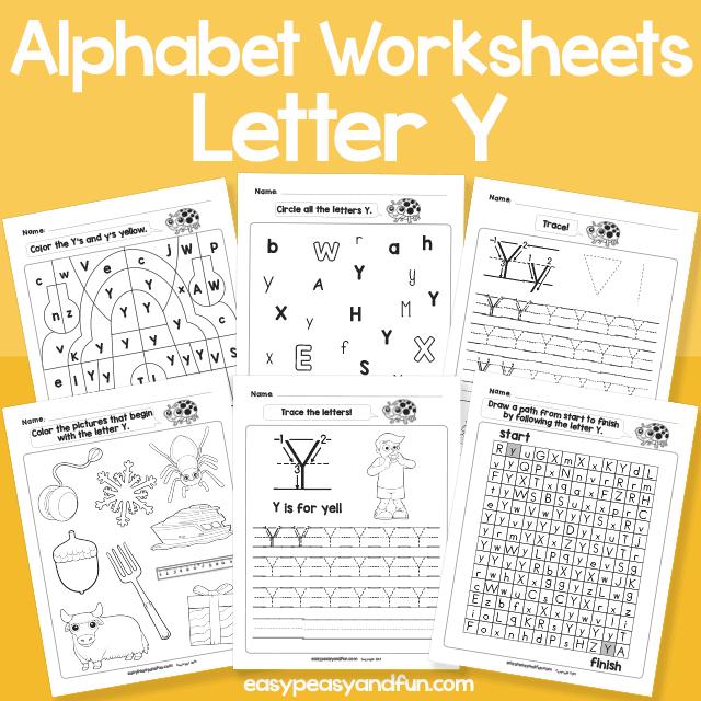 Letter Y Alphabet Worksheets for Kindergarten