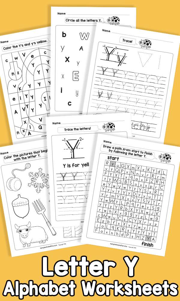 Letter Y Alphabet Worksheets