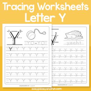 Letter Y Tracing Worksheets for Kindergarten