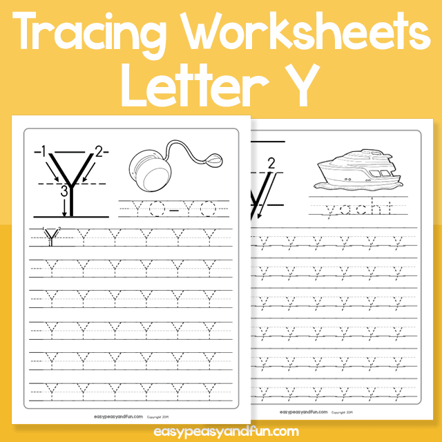 Letter Y Tracing Worksheets for Kindergarten