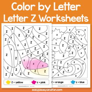Letter Z Color by Letter Worksheets for Kindergarten
