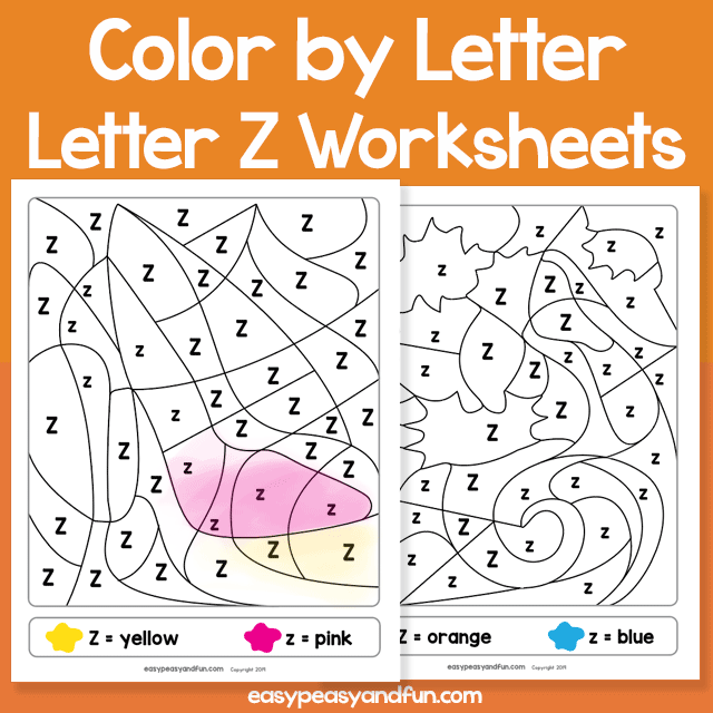 Letter Z Color by Letter Worksheets for Kindergarten