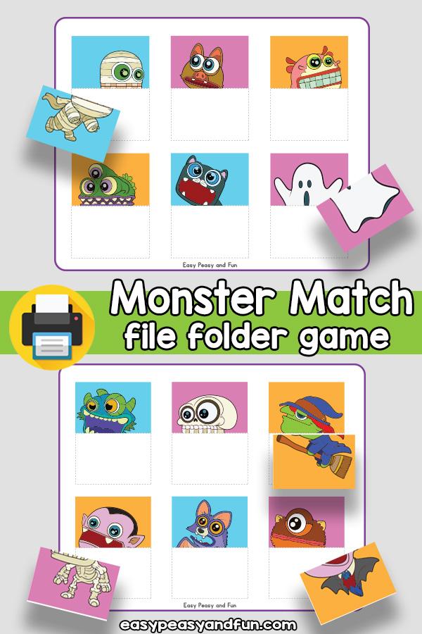 Monster Match Halloween File Folder Game
