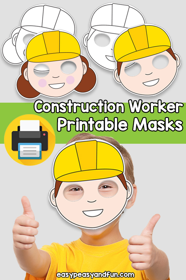 Printable Construction Worker Mask Template