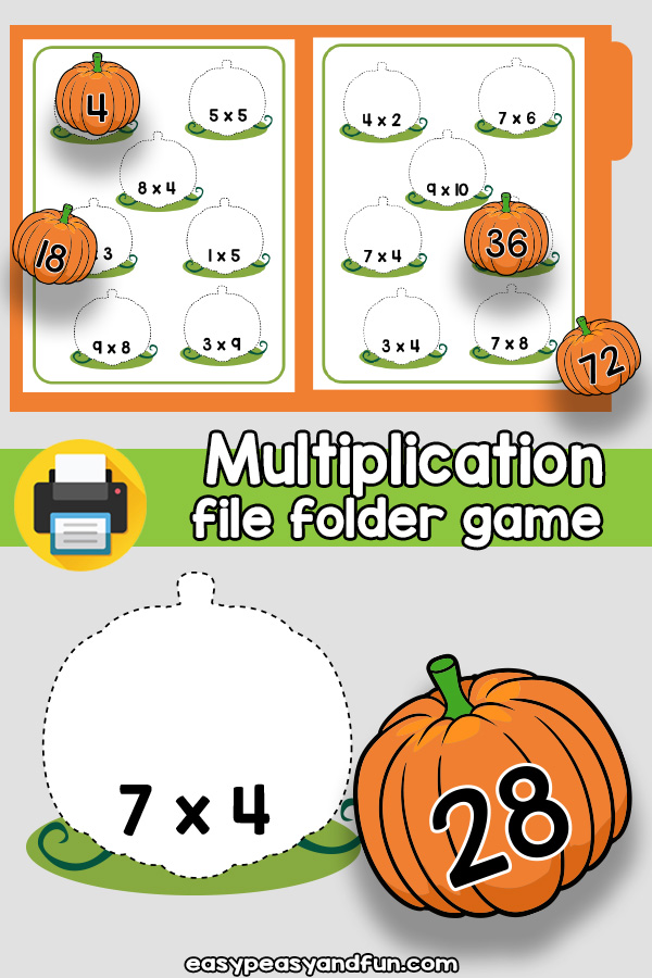 Pumpkin Patch Multiplication File Folder Game
