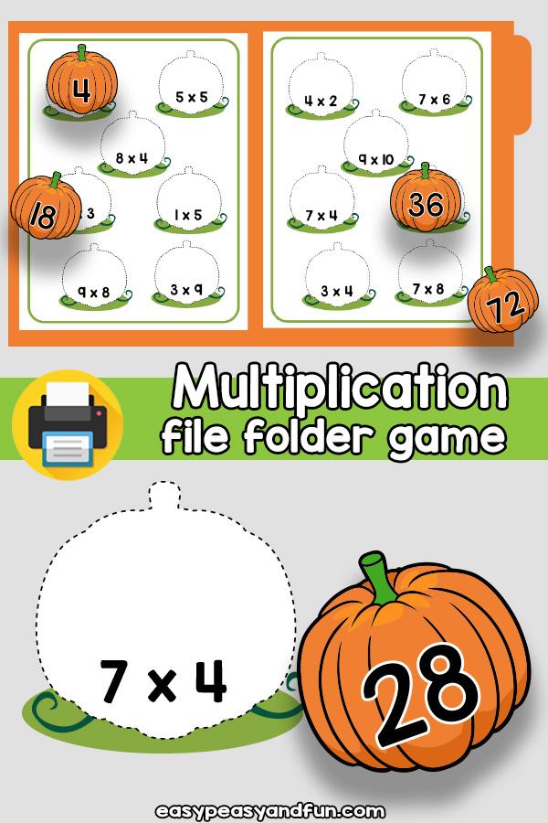 Pumpkin Patch Multiplication File Folder Game