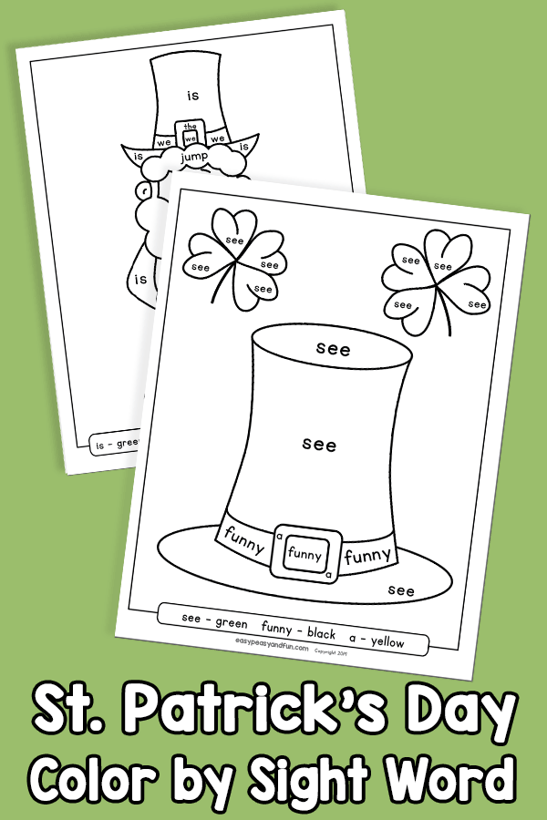 Saint Patrick Day Color by Sight Word Worksheets