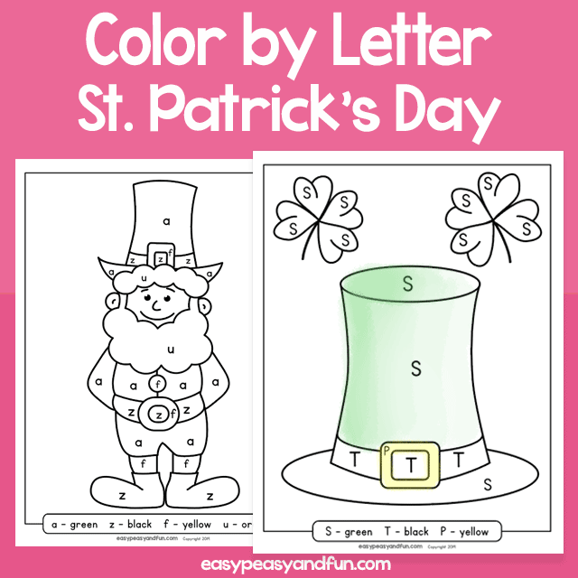 Saint Patricks Day Color by Letter Worksheets