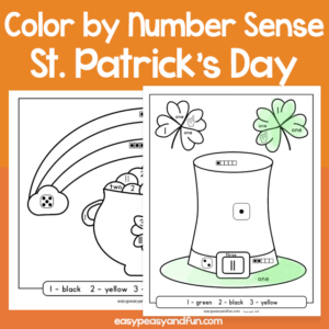 Saint Patricks Day Color by Number Sense for Kids