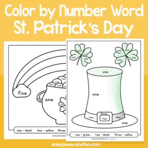 Saint Patricks Day Color by Number Word for Kids