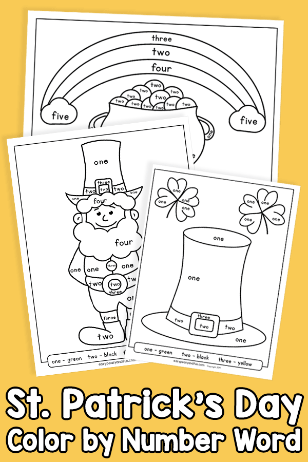 Saint Patricks Day Color by Number Word Worksheets