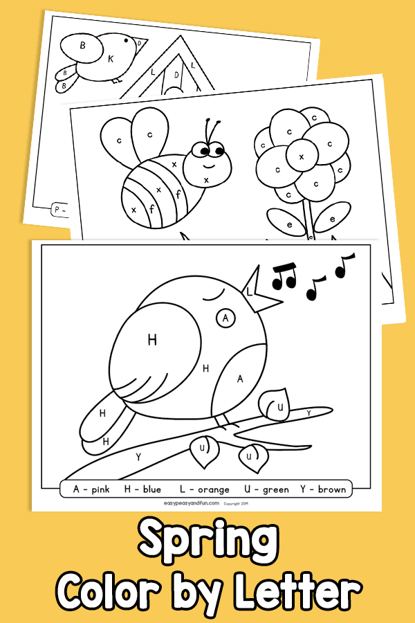 Spring Color by Letter Worksheets Color by Code