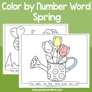 Spring Color by Number Word for Kids