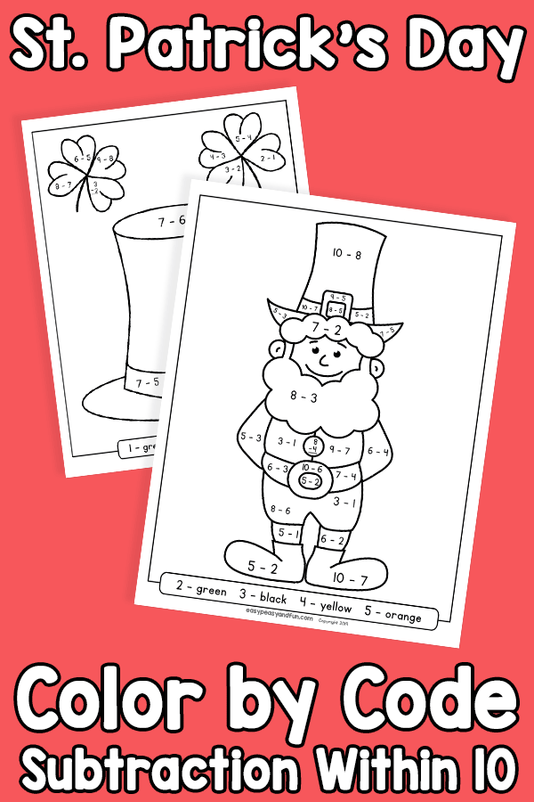 St Patricks Day Color by Code Subtraction within 10 Worksheets