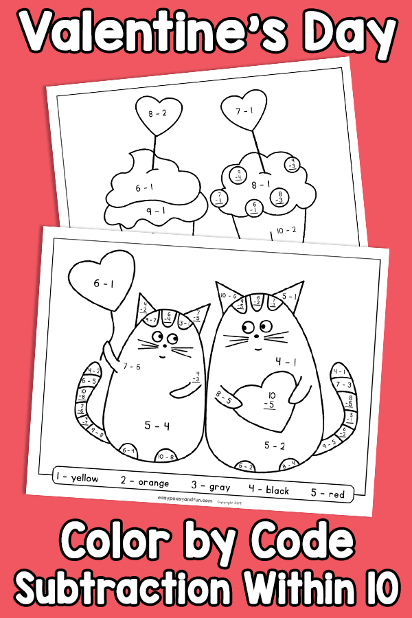 Valentines Day Color by Code Subtraction Within 10 Worksheets