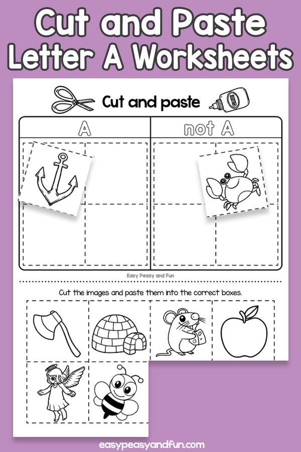 Cut and Paste Letter A Worksheets for Kids