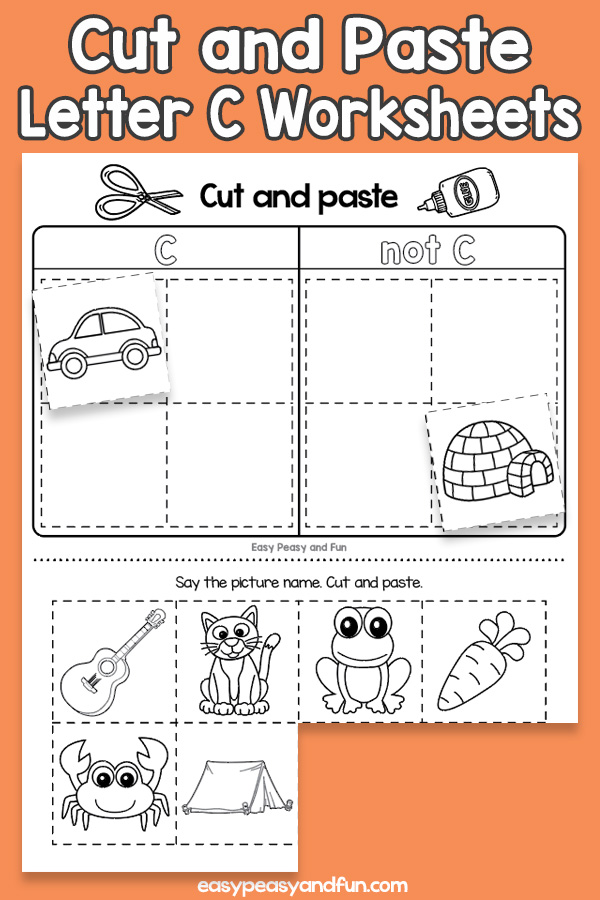 Cut and Paste Letter C Worksheets for Kids