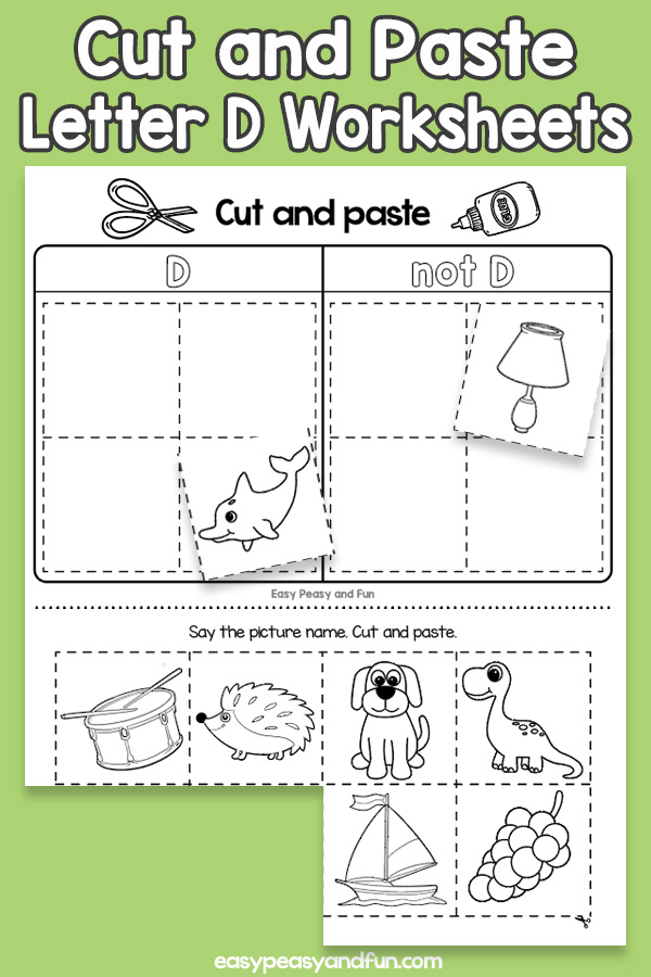 Cut and Paste Letter D Worksheets for Kids