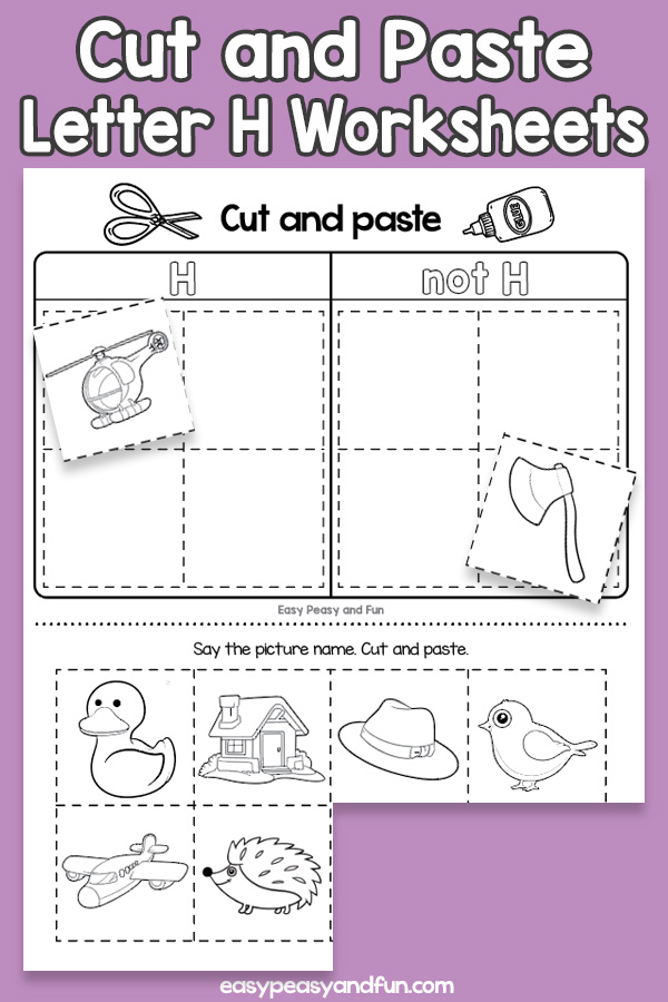 Cut and Paste Letter H Worksheets for Kids