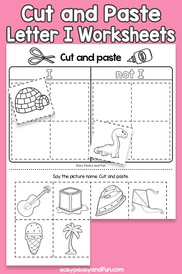 Cut and Paste Letter I Worksheets for Kids