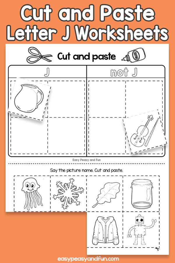 Cut and Paste Letter J Worksheets for Kids
