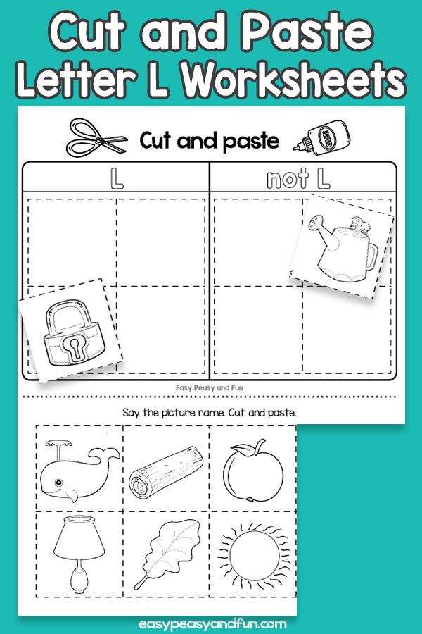 Cut and Paste Letter L Worksheets for Kids