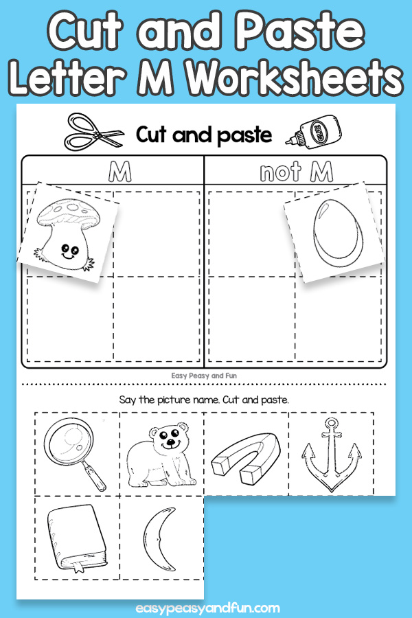 Cut and Paste Letter M Worksheets for Kids