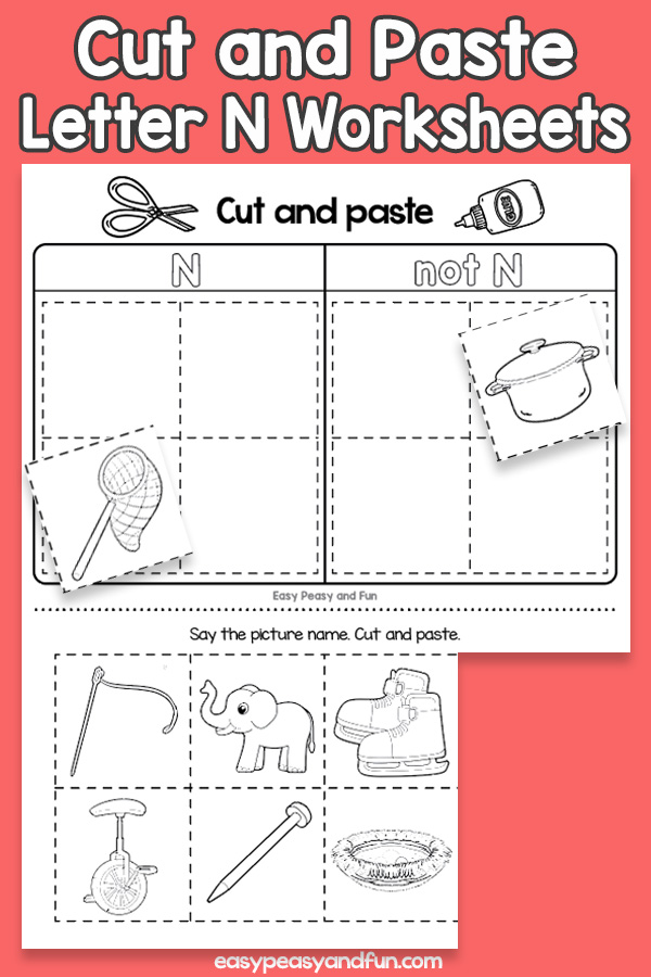 Cut and Paste Letter N Worksheets for Kids