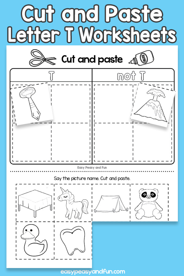 Cut and Paste Letter T Worksheets for Kids