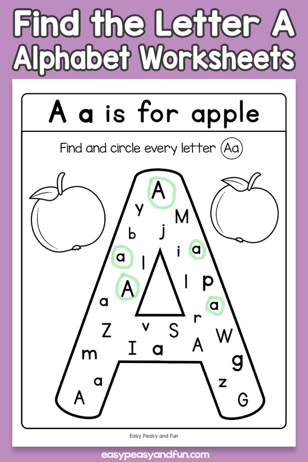 Find The Letter A Worksheets – Easy Peasy And Fun Membership