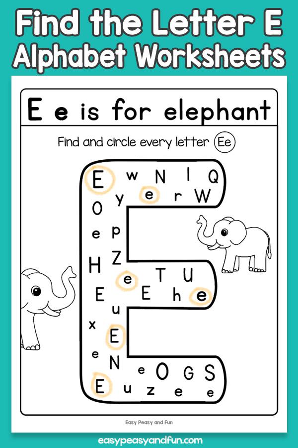Find the Letter E Worksheets for Kids