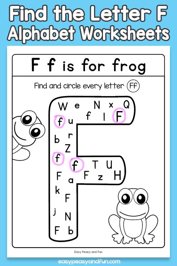 Find the Letter F Worksheets for Kids