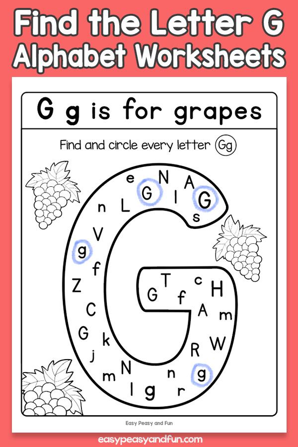 Find the Letter G Worksheets for Kids