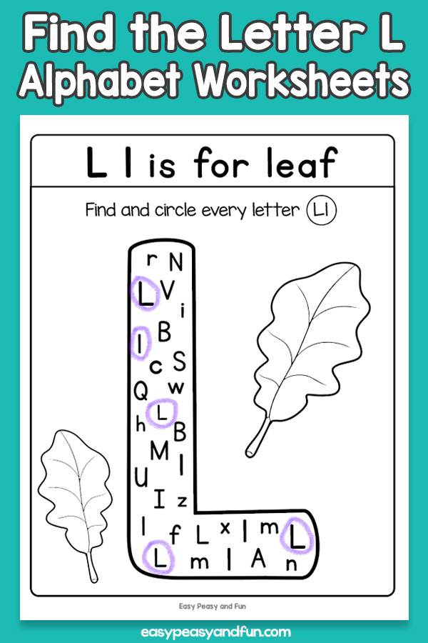 Find the Letter L Worksheets for Kids