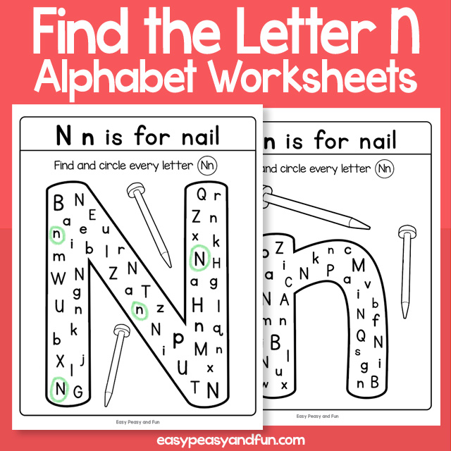 Find the Letter N Worksheets
