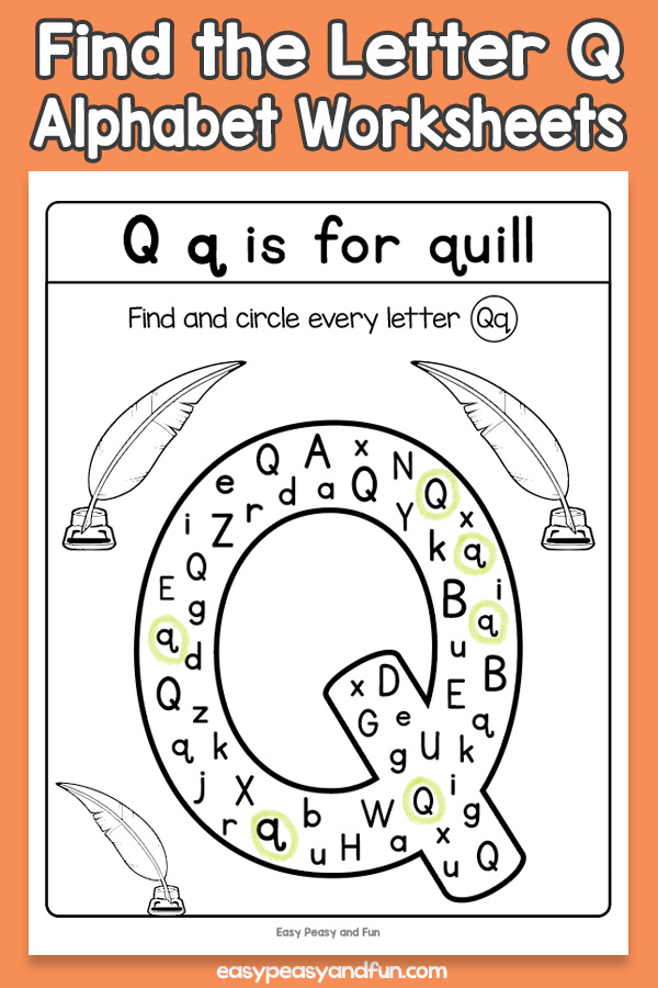 Find the Letter Q Worksheets for Kids